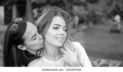 Love and desire. Lesbian couple in love. Lesbian women with sensual look. Loving couple of lesbian lovers kissing. Sexy women in romantic relationship. Lesbian partnership. Freedom and equality.