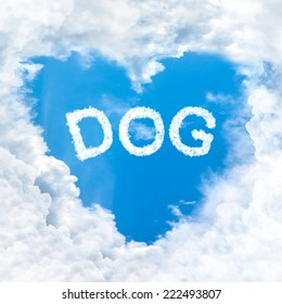 love dog word cloud gradient blue sky background only