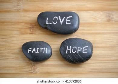 Love, Faith, Hope, conceptual image.