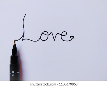 Love Fine Line Caligraphy black ink illustration with heart