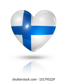 Love Finland symbol. 3D heart flag icon isolated on white with clipping path