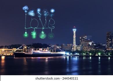 Love Fireworks celebrating over marina bay in Yokohama City, Japan