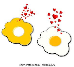 Love at first sight, a normal fried egg and another with inverted colors fall in love.