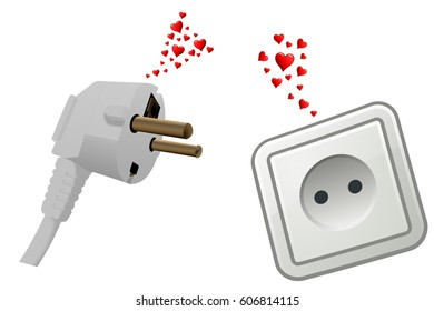 Love at first sight, a wall outlet and a plug fall in love