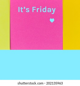 Love friday post it note on blue background