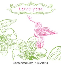 Love Greeting Card with Bird and Flowers. Raster version. illustration, can be used as creating card, wedding invitation, birthday, valentine's day and other holiday and summer or spring background.