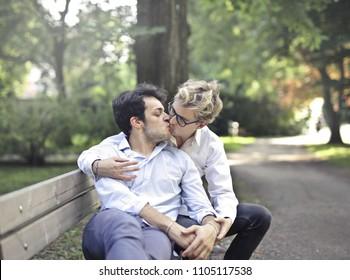 In love guys kissing
