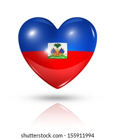 Love Haiti symbol. 3D heart flag icon isolated on white with clipping path