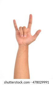 Love hand sign on white background.