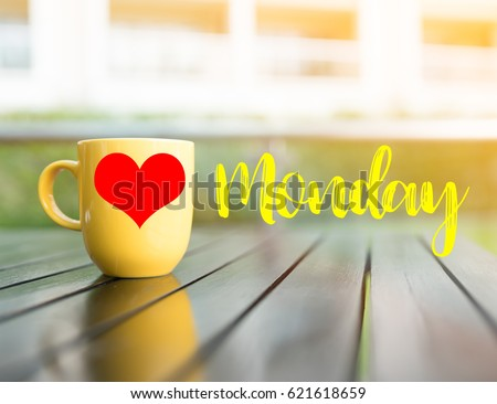 Love Happy Monday Wordyellow Cup Coffee Stock Photo Edit Now