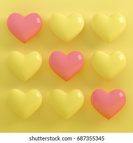 Love Heart Balloon concept on pastel pink and yellow background for copy space. minimal concept, 3D render.