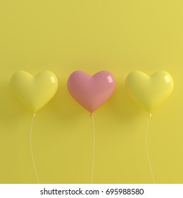 Love Heart Balloon concept on pastel pink and light blue background for copy space. minimal concept, 3D render.