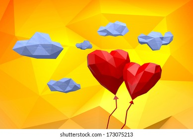 Love Heart Balloon in low poly Sky