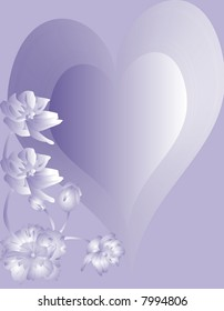 Love Heart and flower on violet background.