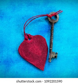 Love Heart and Key on a Square Blue Background