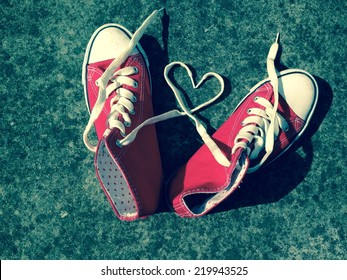 love heart shape laces basketball boots red sneakers teen love symbol young love modern retro  concept stock, photo, photograph, picture, image