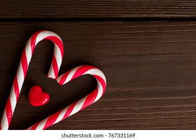 Love hearts, christmas candy cane symbolizing heart and love. Background for christmas holidays and valentine's day