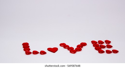 love hearts in shape of the word love