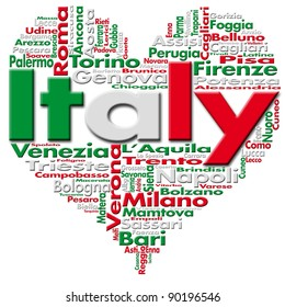 I Love Italy - Written Italy and Italian cities with heart-shaped, Italian flag colors