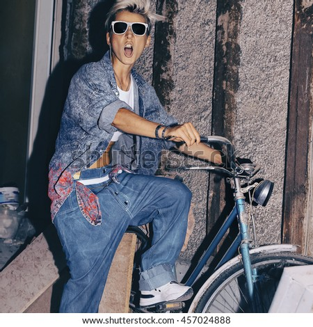 a6f897692375 Love Jeans Love Vintage Bike Stylish Stock Photo (Edit Now ...