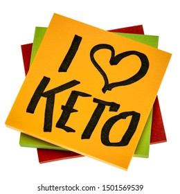 I love keto - diet and lifestyle concept - handwriting on an isolated reminder note