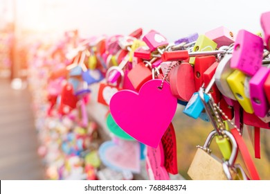 The Love Key Ceremony at N Seoul Tower in Seoul City, Korea. Located on Namsan Mountain in the center of Seoul City.