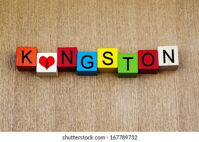 I Love Kingston, Jamaica, Bahamas, sign series for travel, place names and holidays
