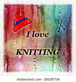I Love Knitting Text Winter Warmth Advert Illustration Card