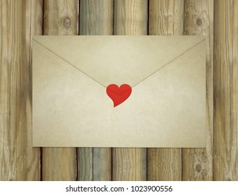 A love letter envelope enclosed by a red heart