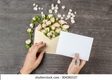 Love letter with roses. Empty space for your text. Top view. Mockup template for gift certificate