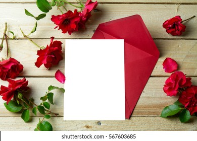 love letter valentine  rose and in envelope on wooden background, decoration for Valentines Day, copy space for text