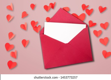 Love letter. white card with red paper envelope mock up          - Image