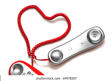 Love line, red cordless phone with heart shape cord