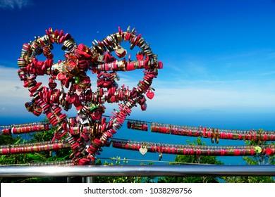 Love lockers on Sky Bridge - Langkawi Island, Malaysia, Asia