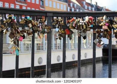 Love locks in Nyhavn Harbor,Copenhagen,Denmark