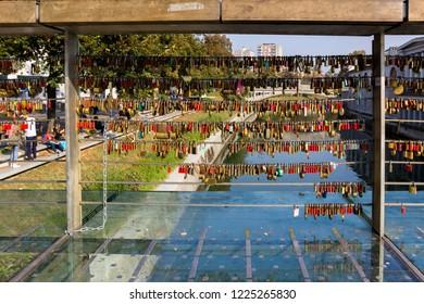 Love locks on Butcher's bridge in Lublana, Slovenia on 13 of Oct 2018