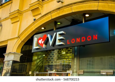 Love London title of one of the gift shops in London, UK.
