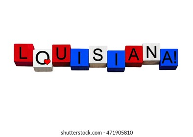 I Love Louisiana - sign series for American states, New Orleans, Baton Rouge, USA travel - design / banner / word - in national flag colors - isolated on white background.