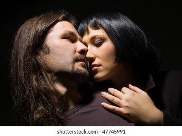 love of a man and woman on a black background