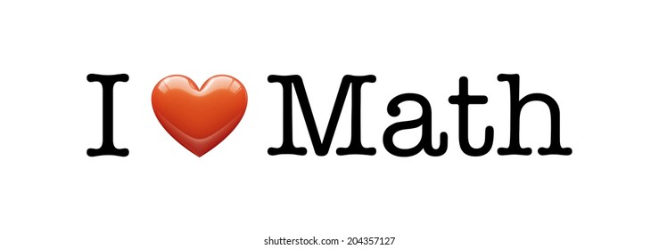I Love Math banner, font type with Heart illustration