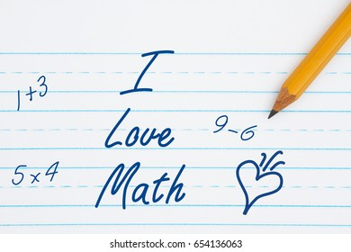 I love math text on retro lined paper with a pencil