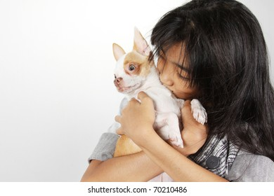 Love me love my dog, A girl hugs and kiss a dog