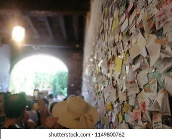 Love Messages from Lovers near the Balcony of Romeo and Juliet Shakespeare Tragedy Characters in Verona,Italy-July 2018