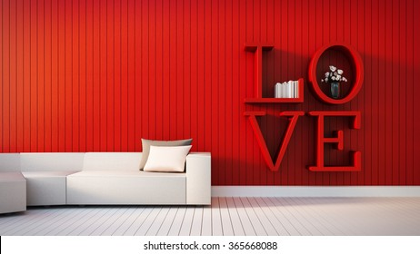Love - modern interior for Valentine's day / 3D render image