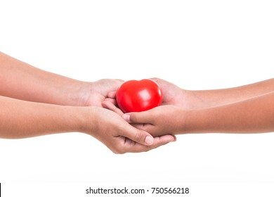 Love Mom Concept : Daughter holding and giving red heart to her mother hand isolated on white background