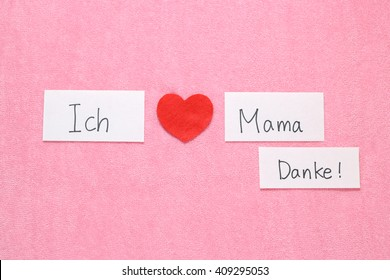 Thank you mom japanese red heart stock photo edit now 408011773 i love mom concept in german red heart and hand written letters spelling i love expocarfo Image collections