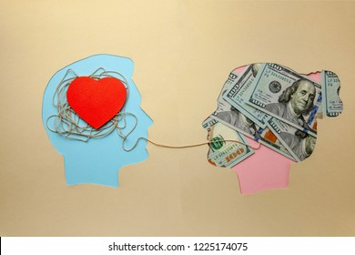 Love for money. Marriage of convenience. Prostitution, intimate services for money. Man and woman with money dollars and red heart