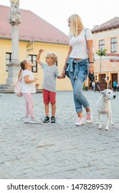 Love of mother and children. Happy woman and her  children walking with dog. Mothers day.