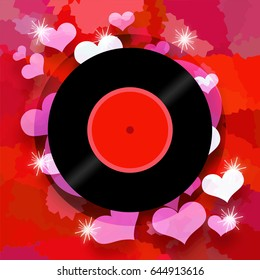 Love music concept with vinyl record and romantic valentine hears on red background