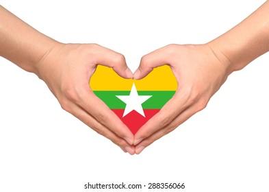 Love Myanmar, myanmar flag inside heart shape from hands on white background